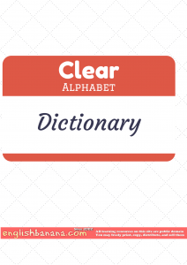 Clear Alphabet Dictionary
